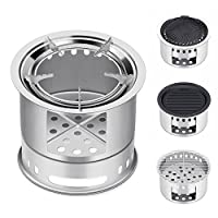 Canway Camping Stove, Wood Stove/Backpacking Stove,Portable Stainless Steel Wood Burning Stove with Nylon Carry Bag for Outdoor Backpacking Hiking Traveling Picnic BBQ from Canway