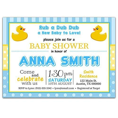 Blue and Yellow Rubber Ducky Baby Shower Party Invitations]()
