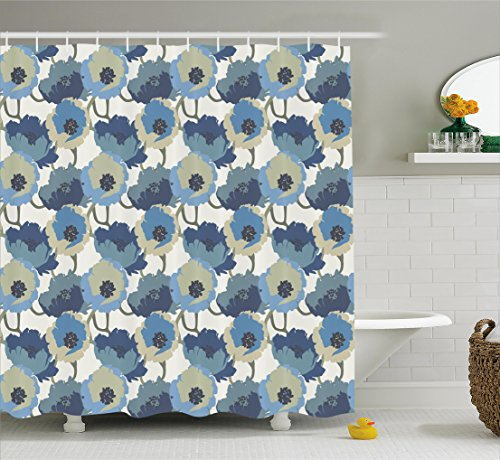 Floral Shower Curtain by Ambesonne, Ombre Flowers Romantic Perennial Bouquet Florets Digital Watercolor Effect Art, Fabric Bathroom Decor Set with Hooks, 75 Inches Long, Grey Navy (Perennials Fabric)