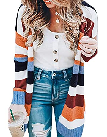 8945b40a6c1f ECOWISH Womens Color Block Striped Draped Kimono Cardigan with Pockets Long  Sleeve Open Front Casual Knit