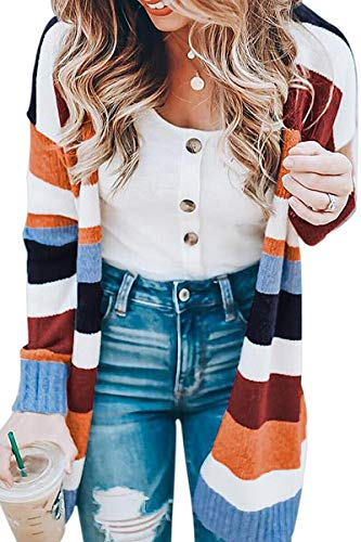 ECOWISH Womens Long Sleeve Cardigan Color Block Open Front Drape Oversized Knitted Sweater Cardigan with Pockets 090 Khaki Large