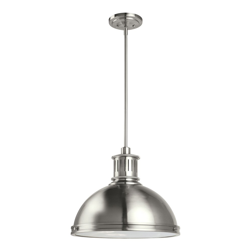 Sea gull lighting 65087 962 pratt street metal three light pendant with clear textured glass diffuser brushed nickel finish