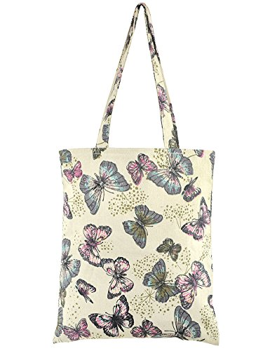 POPUCT Womens Butterfly Canvas Shopping Bag Tote Bag(Butterfly-1)