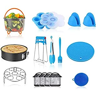 Accessories for Instant Pot, 14 PCS Compatible with 5/6/8Qt Instant Pot, Ninja Foodi 8qt - Steamer Basket, Springfoam Pan, Egg Rack, Egg Bite Mold, Dish Plate Clip, Kitchen Tong, 2 Silicone Oven Mitts