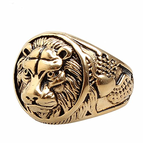 Mowen Jewelry Men's Stainless Steel Ring Lion Head Shield Biker Vintage,Silver and Gold (Gold, (Lion Head Ladies Ring)