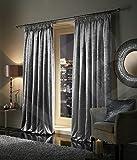 "Pair of Plush Crushed Velour Faux Velvet PENCIL PLEAT / TAPE TOP Curtains, by VICEROY BEDDING (90"" width x 90"" depth (229cm x 229cm), Silver)"