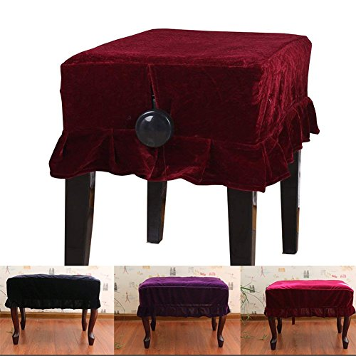 Monkeysell Adjustable Wooden Piano Bench Stool Cover Decorated with Pleuche for Piano Single Seat Bench Universal (Red single stool cover)