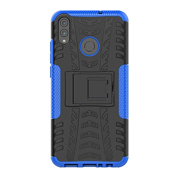 Huawei Honor 8X Case, Yiakeng Dual Layer Shockproof Wallet Slim Protective with Kickstand Hard Phone Case Cover for Huawei Honor 8X (Blue)