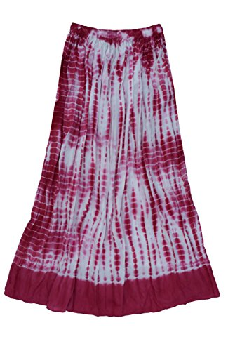 Ayurvastram Viscose Rayon Crinkled Tie n Dye Long Skirt: Rose Pink, 1X