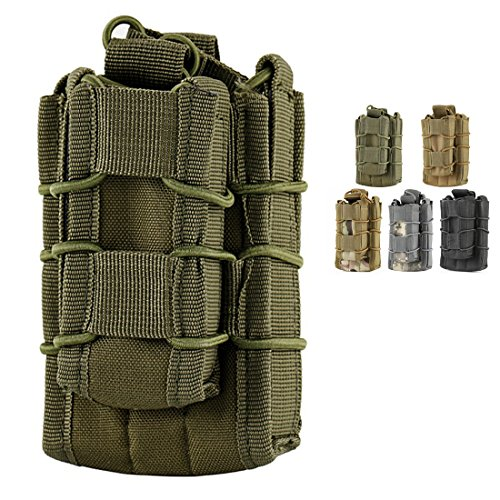 Double Mag pouch, Hoanan Tactical Molle Magazine Pouch Open-Top Single Rifle Pistol Mag Pouch Cartridge Clip Pouch Hunting Bag (army green)