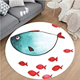 Nalahome Modern Flannel Microfiber Non-Slip Machine Washable Round Area Rug-al Decor Cute Chubby Fish with Little Underwater Aquatic Life Kids Nursery Theme Blue Red area rugs Home Decor-Round 55''