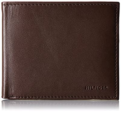 Tommy Hilfiger Men's Leather Wallet - Bifold Trifold Hybrid Flip Pocket Extra Capacity Casual Slim Thin for Travel,Donny Brown