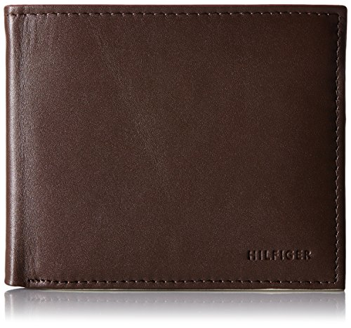 Leather Double Billfold (Tommy Hilfiger Men's Donny Genuine Leather Double Billfold Passcase Wallet,Brown,One Size)