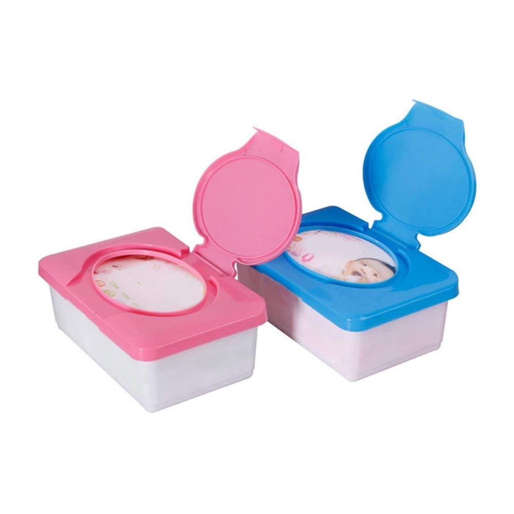Ogquaton /Support de lingettes de bureau de voiture de caisse en plastique de bo/îte de stockage de tissu humide avec le couvercle de boucle bleu durable et pratique