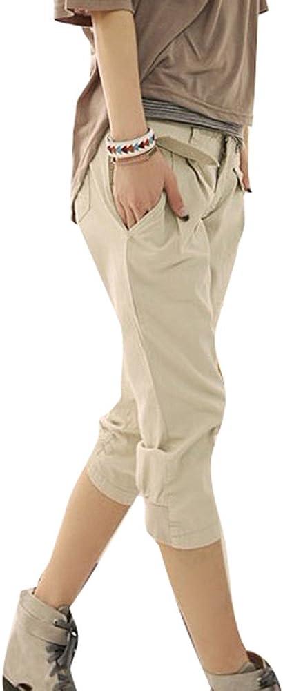 TALLA M. Juleya 3/4 Shorts para Mujeres - Pantalones Harem Capri recortados Cinturón Gratuito Pantalones elásticos Bolsillos Pantalones Cortos de Oficina de Verano Talla Extra