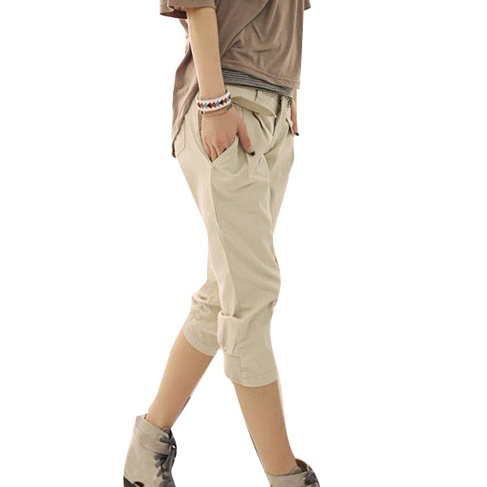 Juleya 3/4 Shorts para Mujeres - Pantalones Harem Capri recortados Cinturón Gratuito Pantalones elásticos Bolsillos Pantalones Cortos de Oficina de Verano Talla Extra