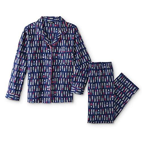 Joe Boxer Women's Plus Size 2-Piece Flannel Pajamas Shirt & Pant Set (Lipstick & Nail Polish, 1X Plus) (Womens Joe Boxer)