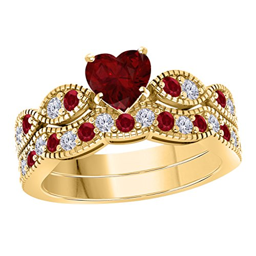 (1.50 Ct Created Heart Shape Red Ruby & White Simulated Diamond Milgrain Weave Wedding Ring Set 14K Yellow Gold Plated)