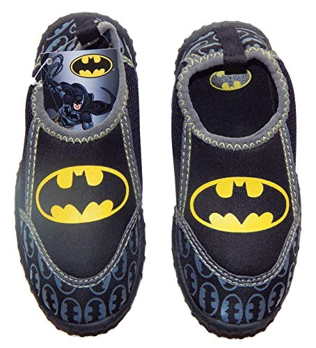 CONTINENTS SOURCING ENTERPRISE LTD. Batman Justice League Boys Black & Yellow Logo Swim Shoes Water Aqua Socks (Toddler's 9-10)