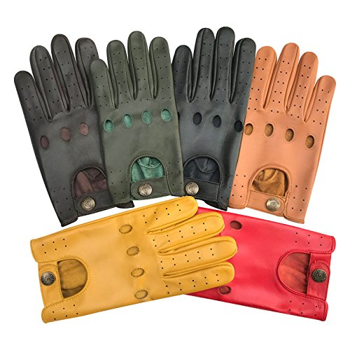 Prime Soft Cow Nappa Leather Men Driving Gloves Slim Style Black Brown Tan 513 (Black-513, L)