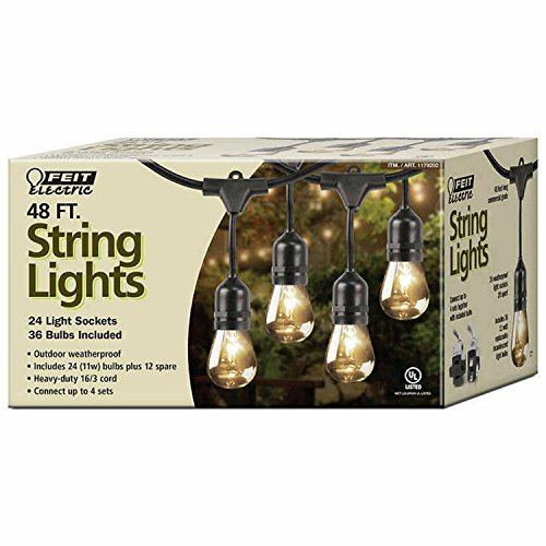 Feit Outdoor Weatherproof String Light Set, Black, 48 ft, 24 Light Sockets, Includes 36 Bulbs (Socket String)