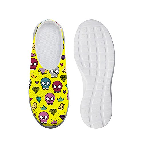 Bigcardesigns Lovely Skull Style Ladies Slip-ons Daily Lazy Sneakers Zapatos Amarillo