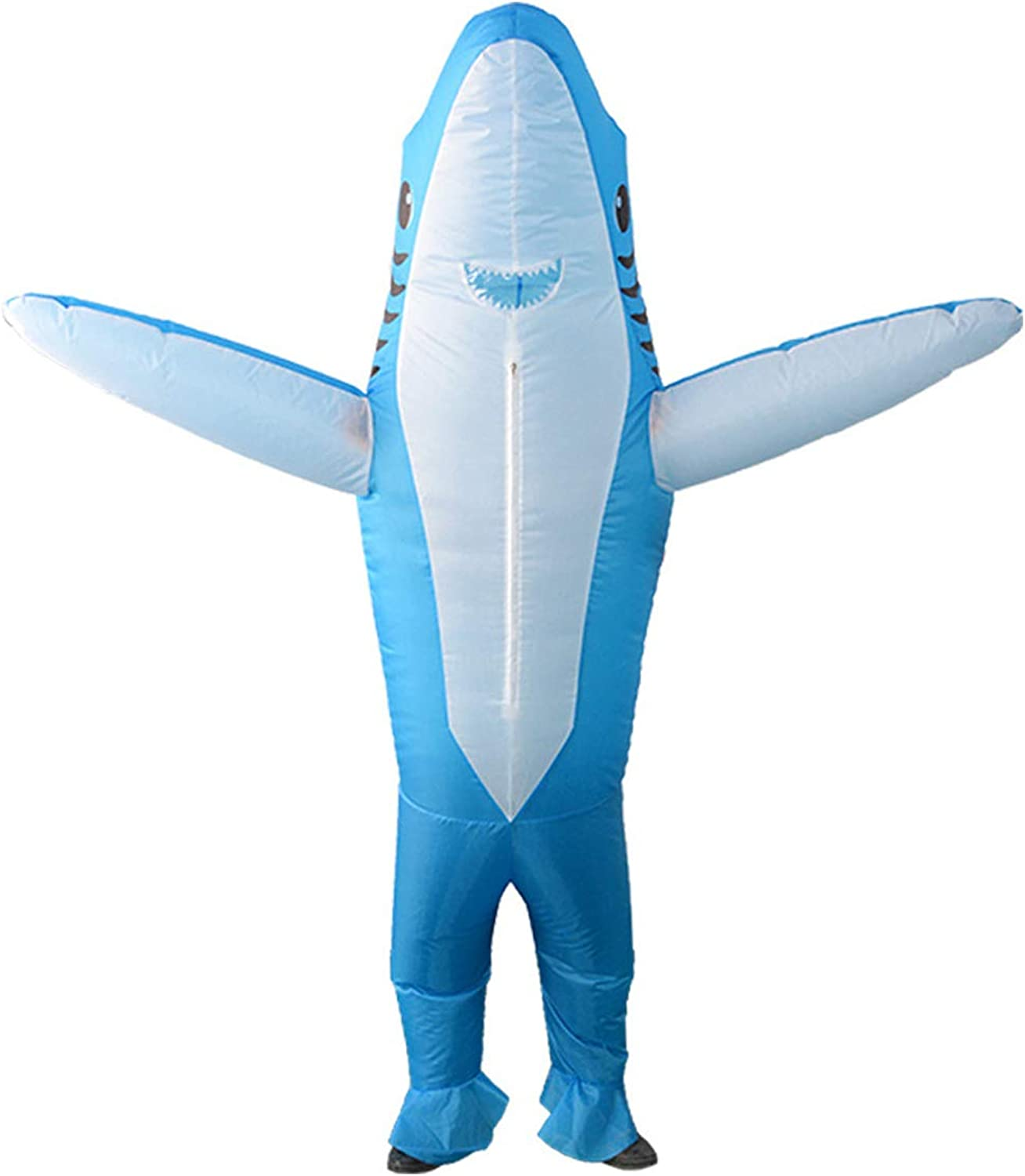 Qshine Inflatable Shark Cosplay Costume Halloween Funny Cartoon Animal Blow up Suit Adult