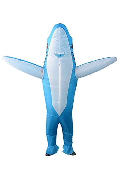 Qshine Inflatable Shark Cosplay Costume Halloween Funny Cartoon Animal Blow up Suit Adult