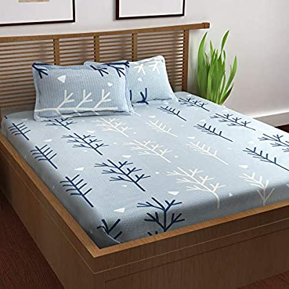 Story@Home Prism Collection 100% Cotton Elegant Floral Pattern 1 Piece Double/Queen Bed Size Bedsheet with 2 Pillow…