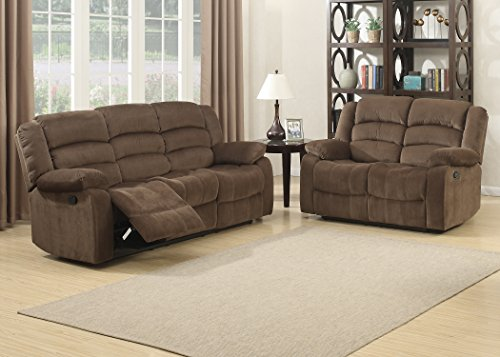 Dual Rocking Reclining Loveseat - AC Pacific 2 Piece Bill Collection Contemporary Living Room Upholstery Sofa Set, Brown