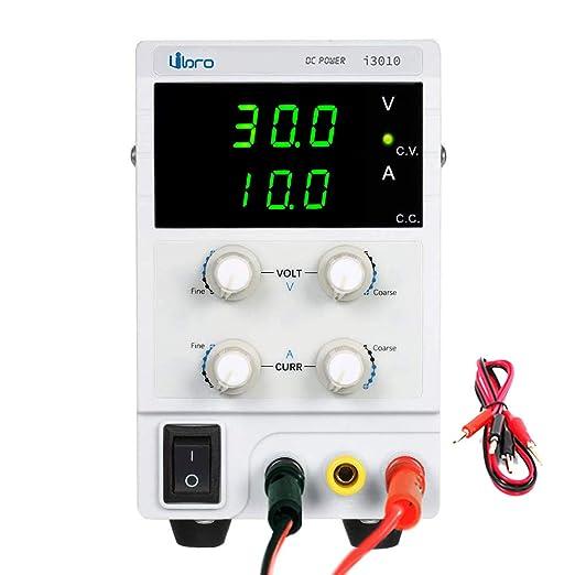 Fuente de alimentación Regulable DC 0-30V 0-10A Ajustable Transformador, para Laboratorio, reparación General EU Plug