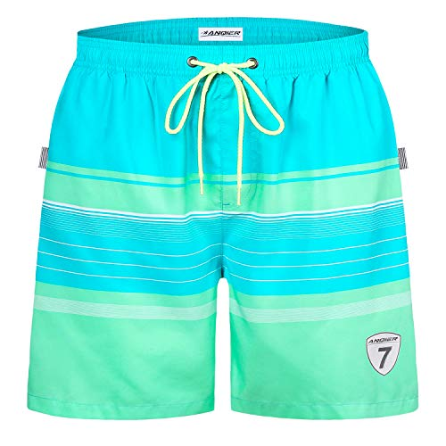 (LANYI Mens Swim Trunks Swimming Beach Shorts Surfing Board Shorts Swimwear Quick Dry Mesh Lining Bathing Suits with Pockets (Light Green Stripe, XXL))