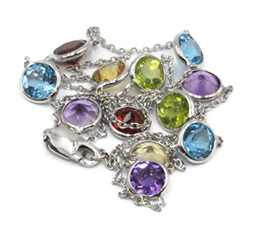 Multicolor 4 mm Gemstones 16 Inches Necklace 14k White Gold Chain