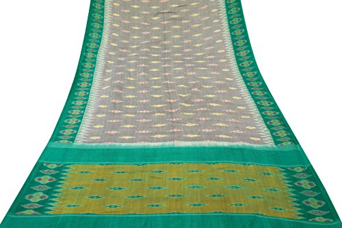 [Vintage Indian Patola Printed 100% Pure Cotton Saree Grey Ethnic Sari Art Fabric] (Bollywood Party Decorations)