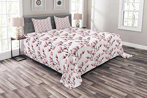 (Verchant Flower Bedspread, Composition with Magnolia Blossom Feminine Corsage Wedding Themed Motifs, Decorative Quilted 3 Piece Coverlet Set with 2 Pillow Shams, Pink Brown Green White)