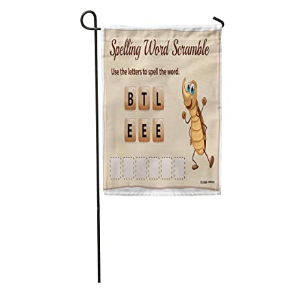 Semtomn Garden Flag Brown Kids Spelling Word Scramble Game Beetle  Vocabulary Activty Animal Home Yard House Decor Barnner Outdoor Stand 12x18  Inches
