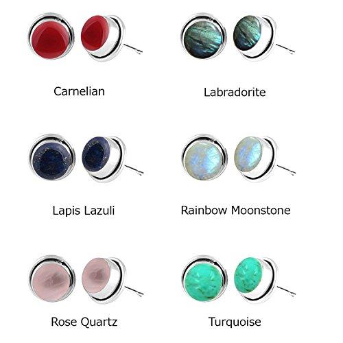 6x6mm Round Genuine Gemstone & 925 Silver Plated Stud Earrings (Setting Silver Plated Stone Earrings)