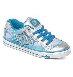 DC Chelsea TX SE Skate Shoe (Little Kid/Big Kid), Light Grey/Purple, 6.5 M US Big Kid