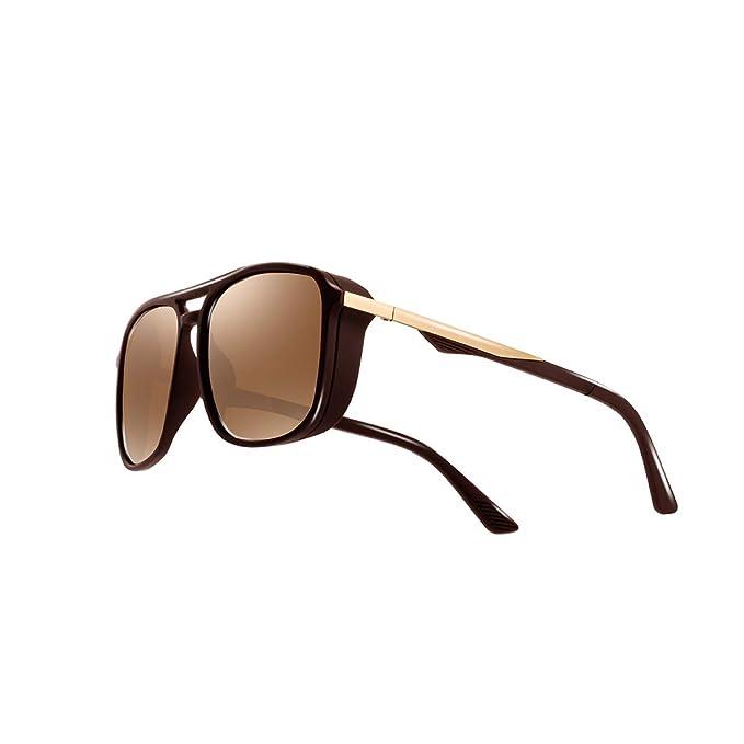 ad4fc5914f Kimorn Polarized Sunglasses For Men Square Frame Unisex Outdoor Sports  Goggle Classic K0623 (Brown)