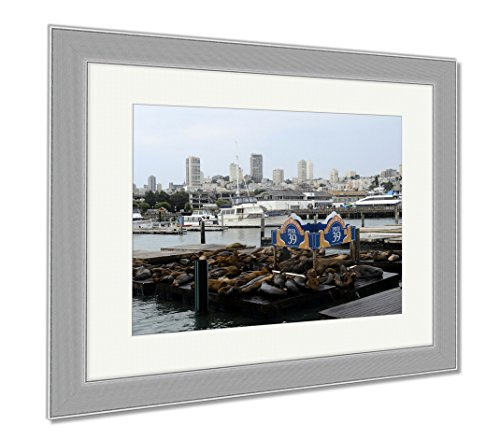Ashley Framed Prints San Francisco Pier 39 View Of Buildings And Sea Lions USA, Wall Art Home Decoration, Color, 26x30 (frame size), Silver Frame, - Shops 39 Pier San Francisco