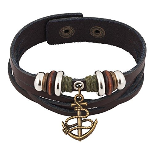 Heart of Charms Anchor Charm Bracelets Handmade Mens Genuine Leather Bracelets Wristband 7.28-8.2 inch