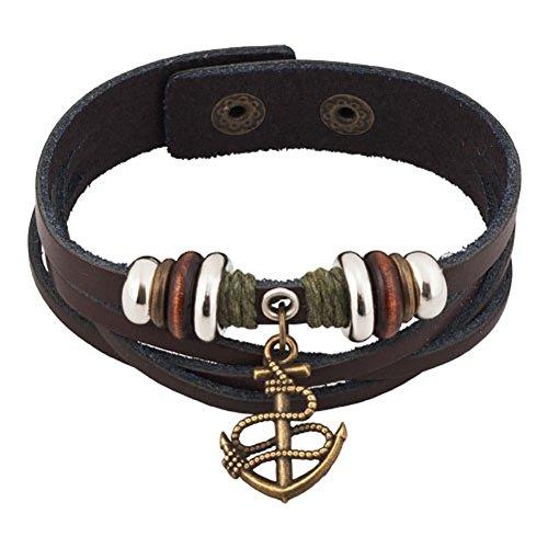 Heart of Charms Anchor Charm Bracelets Handmade Mens Genuine Leather Bracelets Wristband 7.28-8.2 inch