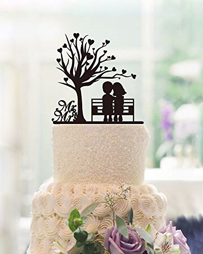 Heart Tree Doll Silhouette Wedding Cake Toppers Country Theme Wedding Decorations Mr and Mrs Cake Topper Black