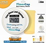 TimerCap Pill Organizer | Built-in Stopwatch Cap & Medicine Pill Boxes | Easy to Use Tcap Pill Cases Organizers (2 Pack – Combo (Standard/Large), Child Resistant – RiteAid Style)