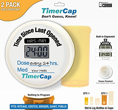 - TimerCap Pill Organizer | Built-in Stopwatch Cap & Medicine Pill Boxes | Easy to Use Tcap Pill Cases Organizers (2 Pack – Combo (Standard/Large), Child Resistant – RiteAid Style)