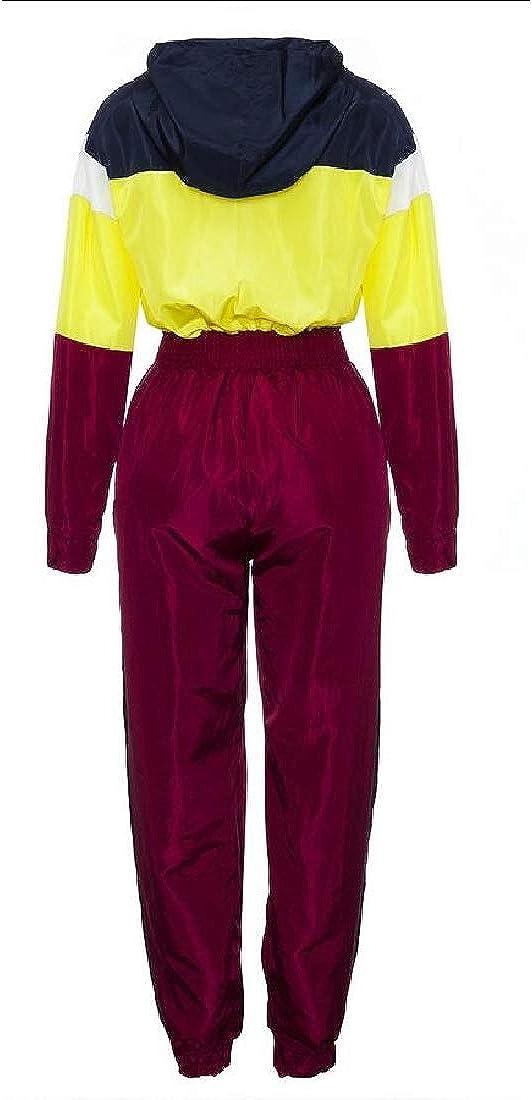 yibiyuan Women V Neck Long Sleeve Color Block High Waist Pants with Zipper
