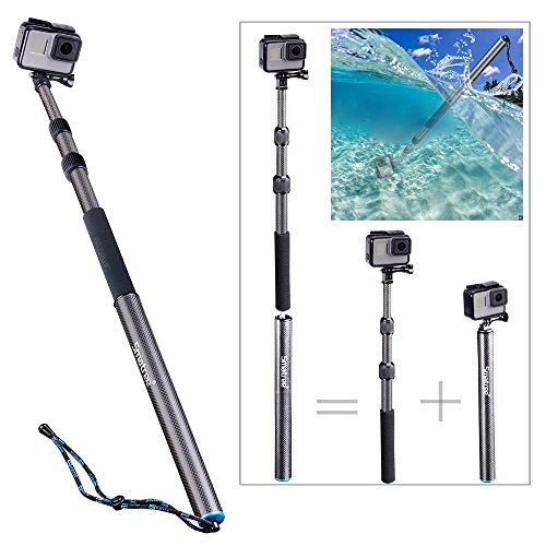Smatree Carbon Fiber Detachable Extendable Floating Pole Compatible for GoPro Hero Fusion/7/6/5/4/3+/3/Session/Gopro Hero 2018/DJI OSMO Action Camera ()