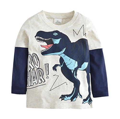 Doyola Toddler Boy's Baby's Long Sleeve Crew Neck Cotton T-Shirt Tops Tee(S-Dinosaur 4T) Cotton S/s Tee