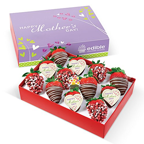 Custom Chocolate Edible Box - Edible Arrangements 12 Chocolate Dipped Strawberries With Mixed Mother's Day Toppings Box