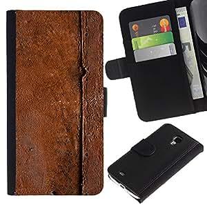 KingStore / Leather Etui en cuir / Samsung Galaxy S4 Mini i9190 / Patrón Metal Naturaleza Marrón